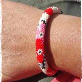 Bracelet Crocheté Cerisier