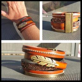 Bracelet Plume marron
