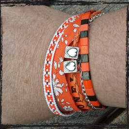 Bracelet multirangs Orange
