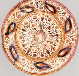 Plato de cerámica Hispano Morisca de reflejos siglo XVI
