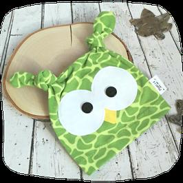 Eulenmütze grün Gr. 50/56, Giraffenmuster grün