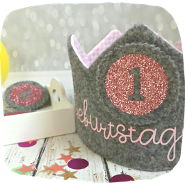 Geburtstagskrone grau - rosa inkl. Zahlenbuttons 1-6