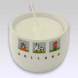 Kaarsenpotje met koe, tulp en molen