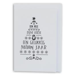 KERST, zwart/wit kaart met enveloppe, tekst kerstboom, 'fijne kerst gelukkig nieuwjaar'.