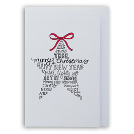 KERST, zwart/wit kaart met enveloppe, tekst ster, 'Merry Christmas Happy new year'.