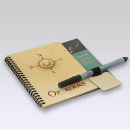 SCHRIJVERIJ duurzaam herbruikbaar schrijfboekje met stift 'op koers'