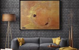 Gemälde Gold mit Achat