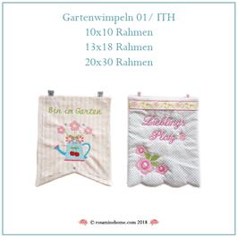 Rosamine Stickdatei, Gartenwimpeln_1 ITH