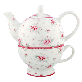GreenGate Teekannen-Set, Flora white mit kl. Glasurriss