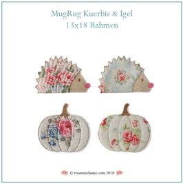 Rosamine Stickdatei, Kürbis- & Igel MugRugs