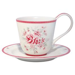 GreenGate  Tasse mit Unterteller, Flora white