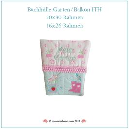 Rosamine Stickdatei, Buchhülle Garten / Balkon ITH