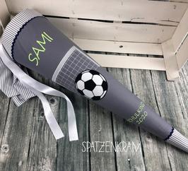 Schultüte Fußball Tor mit Ball - grau