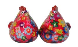 """Salz- und Pfefferstreuer Huhn """"Matilda"""", pink mit Blumen"""