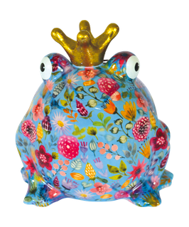 """L-Frosch """"Freddy"""" türkis mit Blumen"""