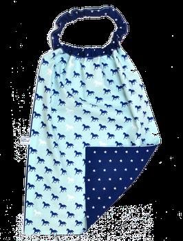 serviette elastiquée cheval bleu