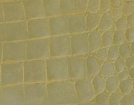 Coupon de cuir de vachette beige doré imprimé crocodile