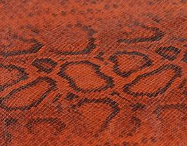 Morceau de cuir de chèvre rouille imprimé python
