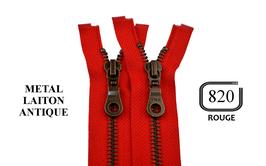 Fermeture éclair YKK rouge métal laiton antique séparable
