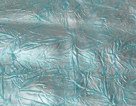 Morceau de cuir de vachette argenté imprimé fleurs bleues