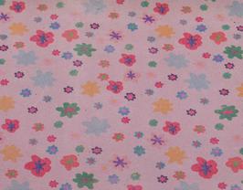 Coupon de cuir de vachette suède rose imprimé fleurs