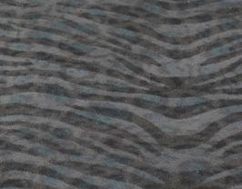 Coupon de cuir de vachette gris et bleu imprimé zèbre