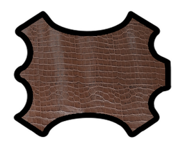 Demi peau de vachette café imprimée crocodile
