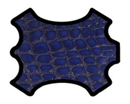 Peau de chèvre bleu imprimé crocodile