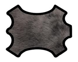 Coupon de cuir de chèvre à poils gris cendré doublé marron foncé