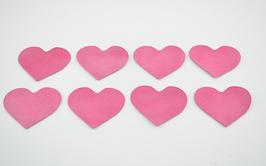 8 cœurs en cuir d'agneau rose clair