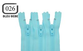 Fermeture éclair YKK bleu bébé en nylon non séparable