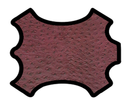 Demi peau de vachette bordeaux imprimée autruche