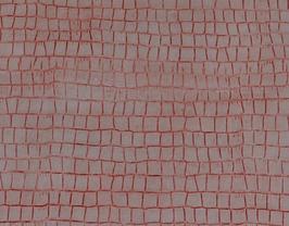 Morceau de cuir de vachette rose imprimé crocodile