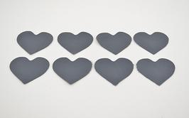 8 cœurs en cuir d'agneau gris