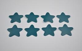 8 étoiles en cuir de chèvre turquoise foncé