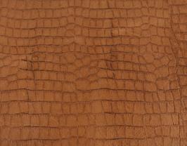 Coupon de cuir de vachette tabac imprimé crocodile