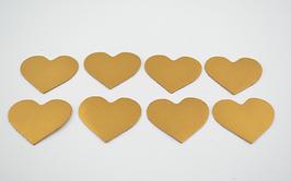 8 cœurs en cuir de chèvre doré
