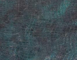 Morceau de cuir de vachette vert imprimé crocodile