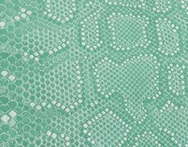 Coupon de cuir de vachette vert opaline imprimé python