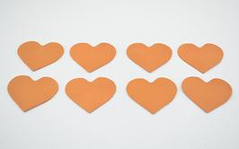 8 cœurs en cuir de veau mandarine