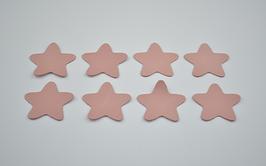 8 étoiles en cuir d'agneau rose pâle