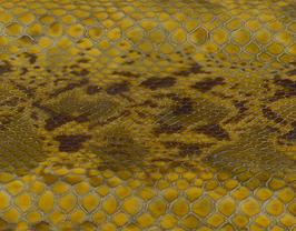 Morceau de cuir de vachette moutarde imprimé caïman