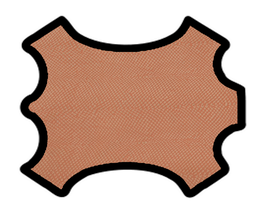 Demi peau de vachette pêche imprimée crotale