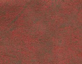 Coupon de cuir d'agneau velours vieilli rouge métallisé