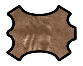 Demi peau de vachette doré antique imprimée lézard