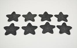 8 étoiles en cuir de veau noir pailleté