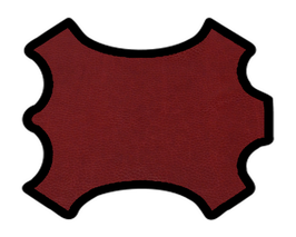 Demi peau de vachette rouge foncé imprimée gros grains