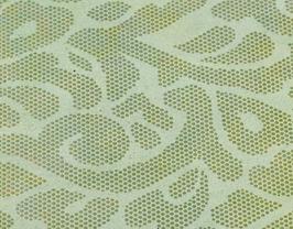 Coupon de cuir de veau doré imprimé rococo