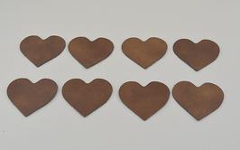 8 cœurs en cuir de chèvre doré grainé