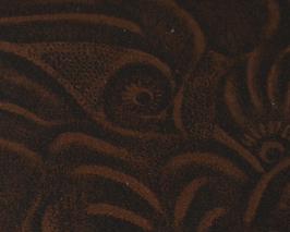 Coupon de cuir de veau marron imprimé fleurs